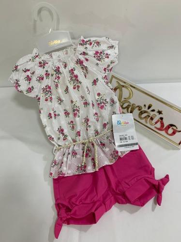 Conjunto Paraiso Menina Festa Blusa + Shorts Ref 7693