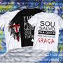 Combo Kit 3 Camisetas Moda Gospel Igreja Camisa Jesus Yeshua Cruz Cristã Camisa 100% Algodão Estampada Igreja Branca Original