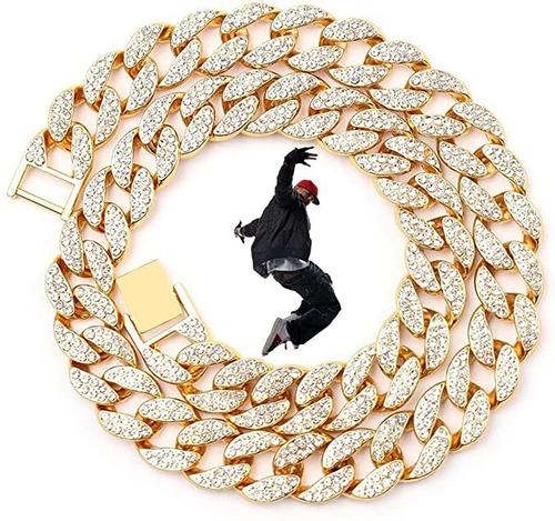 Cadenas Cubanas Diamantada Hombre Gargantillas Oro Zirconia