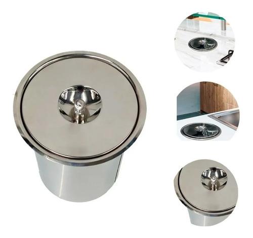Lixeira Pia Cozinha Embutir Granito Inox 5 Litros