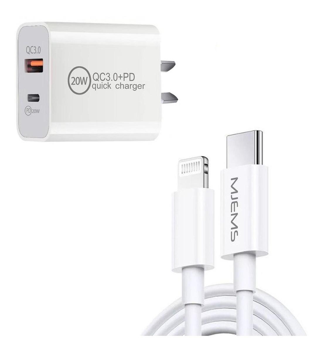 COMBO ENCHUFE CARGA RAPIDA BLANCO 20W USB Y PD + CABLE MJEMS BLANCO