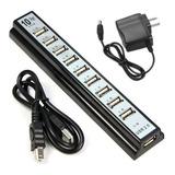 Hub Usb 10 Puertos Usb 2.0 Energizado 480 Mbps Electro Pc