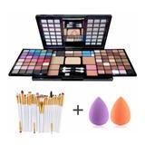 Combo Set Maquillaje 82 Sombras Kit+ 20 Brochas + 2 Esponjas