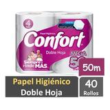 Papel Higiénico Confort Mega 50 Mts Doble Hoja 40 Rollos