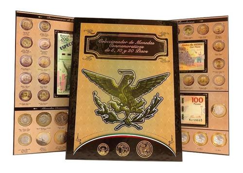 Album Monedas 5 Y 20 Pesos Billetes 100 Y 200 Aguila Full