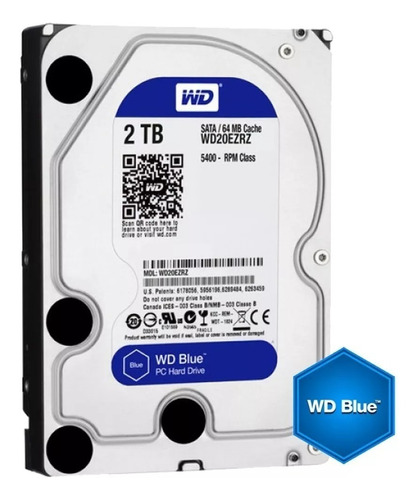 Disco Rigido 2tb Western Digital Blue 64mb 5400rpm Sata3 S/i