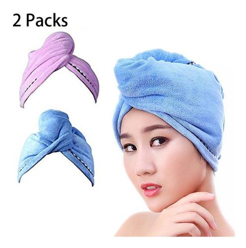 2pcs Mujeres Toalla De Pelo Abrigo Turbante Tapa De Baño De