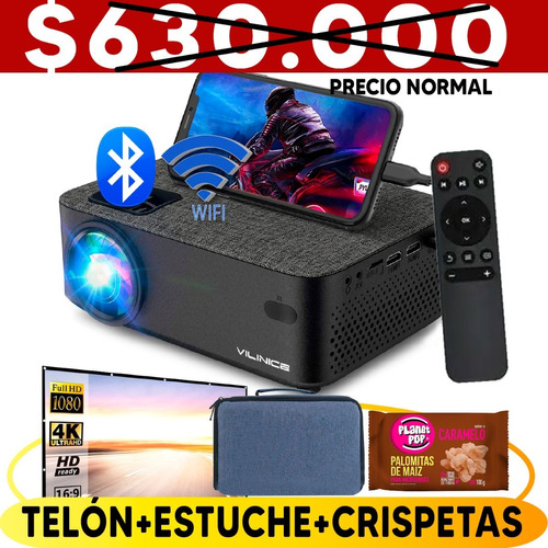 Proyector Wifi Bluetooth 5000lum Luz Día Stereo 240puLG