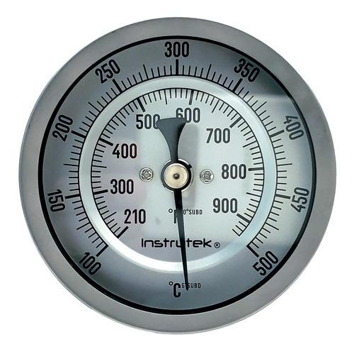 Termómetro Horno 3 PLG 100 A 500°c, Vástago 6 PLG, Rosca 1/2