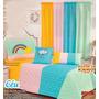 Colcha +cortina+capa Almofada Nuvens Arco-íris Acolchoada Original