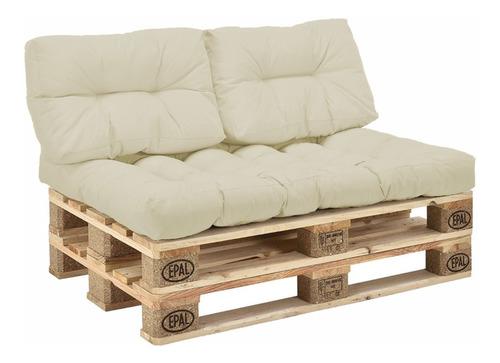 Sofa Palet Estibas + Cojines En Lona - 120 X 80 - 2 Puestos