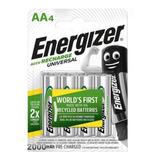 Pilas Baterias Recargables Energizer Aa X 4, 2000 Mah