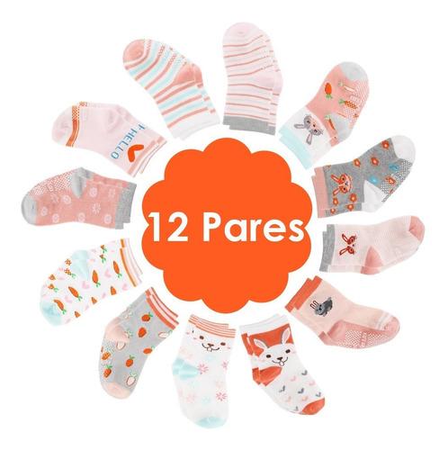 12 Pares Calcetines Antideslizantes Para Bebés De 1 A 3 Años