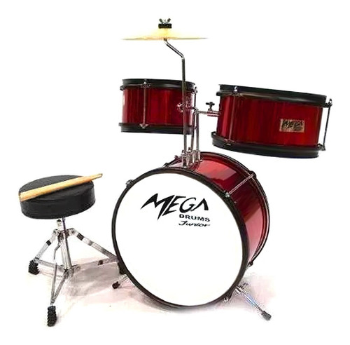 Bateria Legend Mega Drums Junior Rojo Incluye Banqueta P