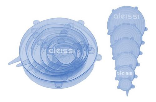 6 Tapa Silicon Flexible Ajustable Estirable Ecologico Reutilizable