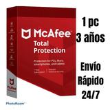 Antuvirus Mcafee Total Protection 1pc X3años Envio Rapido