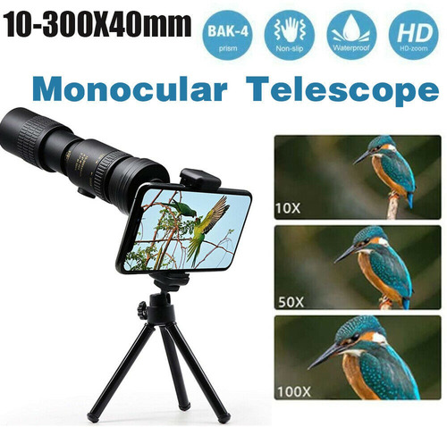 Telescopio Monocular Súper Teleobjetivo Zoom 4k 10-300x40mm
