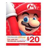 Nintendo Eshop 20 Usd - Entrega Inmediata