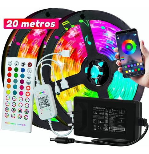 Tira De Luces Led Rrgb Bluetooth Músic 20 Metros