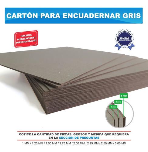 100 Piezas Carton Para Encuadernación Gris 1.25 Mm 14.5x22cm