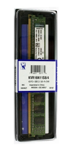 Memoria Ram 4gb 1x4gb Kingston Kvr16n11s8/4 Valueram