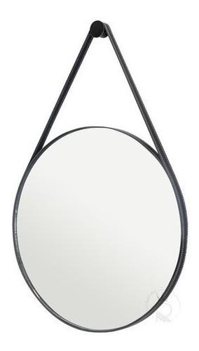 Espelho Decorativo Redondo 60cm Adnet Suspenso C/ Alça Couro