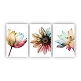 Quadros Decorativos 3 Pçs 20x30 Floral Colorido Flores
