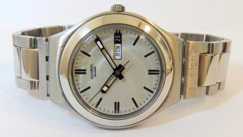 Reloj Swatch Irony Ygs713 Calendario Acero Original Garantía