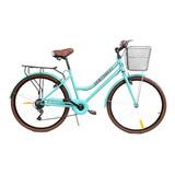 Bicicleta Urbana Centurfit Mkz-bicivintage R26 7v Frenos V-brakes Color Menta Con Pie De Apoyo