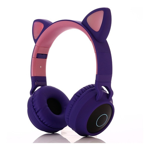 Auriculares Bluetooth Inalámbricos Orejas Gato Luz Led
