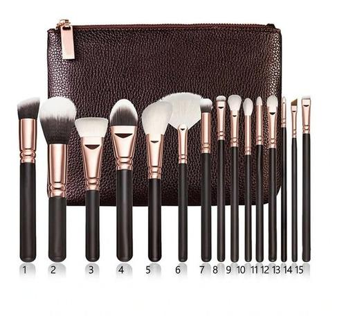 Set 15 Brochas Pinceles Maquillaje + Estuche Alta Calidad