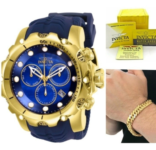 Relógio Invicta Venom Dourado Grande + Pulseira 18k Nfiscal