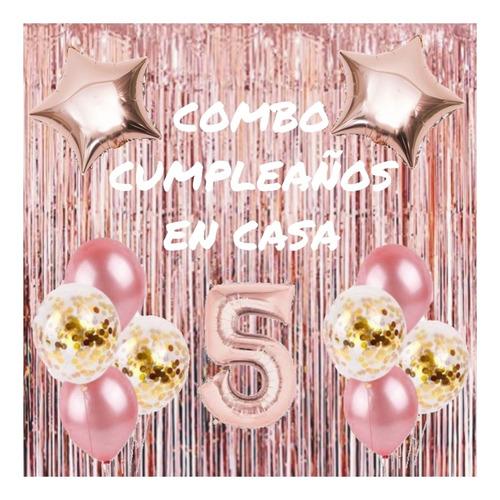 Combo Cumple Rosa Gold + 5 Globos Con Confeti Dorado