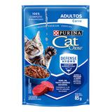 Alimento Cat Chow Para Gato Adulto Sabor Carne Em Sachê De 85g