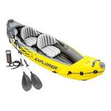 Kayak Intex Bote Inflable 2 Personas + Remo +inflador El Rey