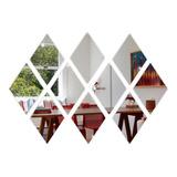 Espelho Decorativo Em Acrílico Losango 10 Peças