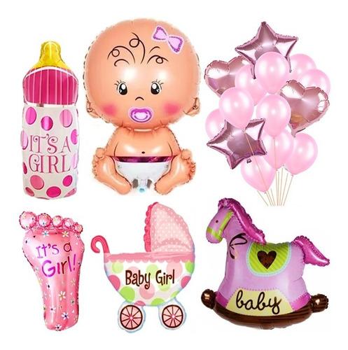 20 Globos Babyshower Rosa Candybar Nacimiento Bebe Nena