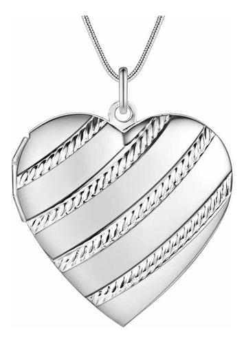 Collar Corazón Foto Ley Plata925 Relicario Portafoto Tallado