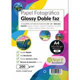 Papel Fotográfico Glossy Doble Faz A4 200gr 100hojas