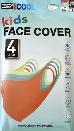 Cubrebocas Infantil Face Cover Kids Lavable Niño 4 Piezas