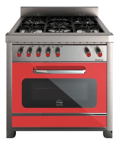 Cocina Morelli Vintage 900 A Gas/eléctrica 5 Hornallas Roja Puerta Con Visor
