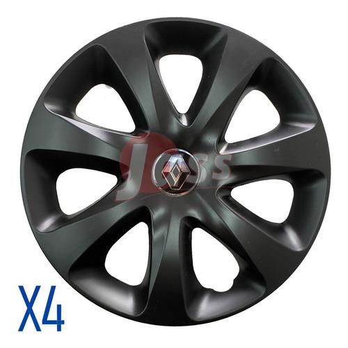 Juego X4 Tazas Renault Clio Twingo R19 Rodado 13 Gris  Negro
