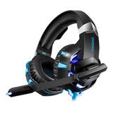 Audífonos Gamer Onikuma K2 Pro Negro Y Azul Con Luz Led