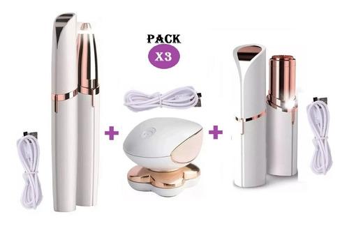 Pack X3 Depiladoras Recargables Para Cejas Rostro Y Cuerpo