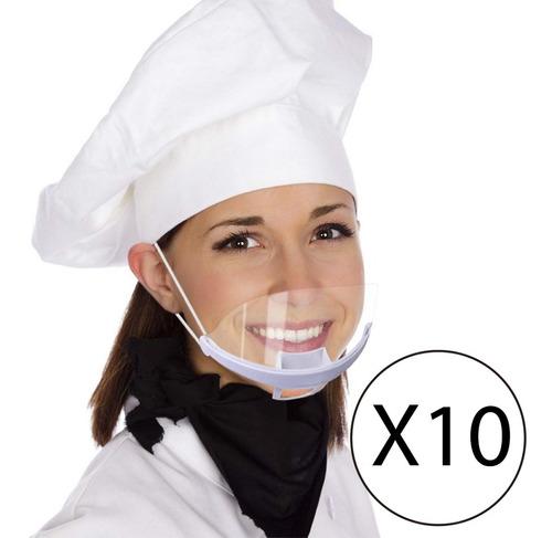 Tapaboca Barbijo Transparente Reutilizable X 10 Unidades