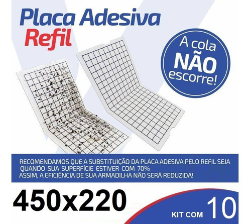 10 Placas Adesiva Refil 450x220 Para Armadilha Luminosa Full