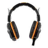 Auriculares Gamer Level Up Copperhead Negro Y Naranja Con Luz Led