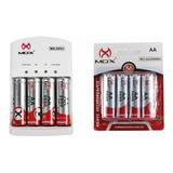 8 Pilhas Recarregáveis Mox Aa 2600 Mah + Carregador Rápido