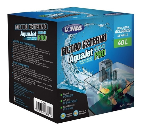 Filtro Externo De Cascada Aquajet Slim Pro 40 Litros Pecera