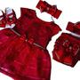 Vestido Luxo Rn A 12 Meses Renda Baby Kit 5 Pç Menina Laço Original